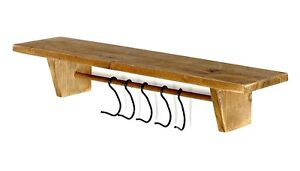 Farmhouse Kitchen Shabby Chic Rustic Wooden Wall Shelf Storage with Hooks