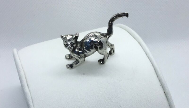 Solid Sterling Silver Cat Kitten Figurine,18 Grams,1 Inch Long. Detailed. EUC.