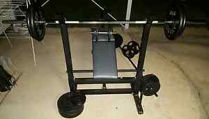 Adjustable Bench Press, 2x Bars, Dumbbells, 124.7kgs in Plates Fairfield Brisbane South West Preview