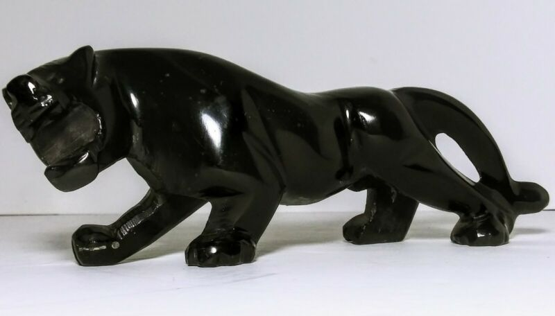 "VINTAGE STONE BLACK PANTHER COUGAR HANDMADE STATUE  FIGURINE 8""."