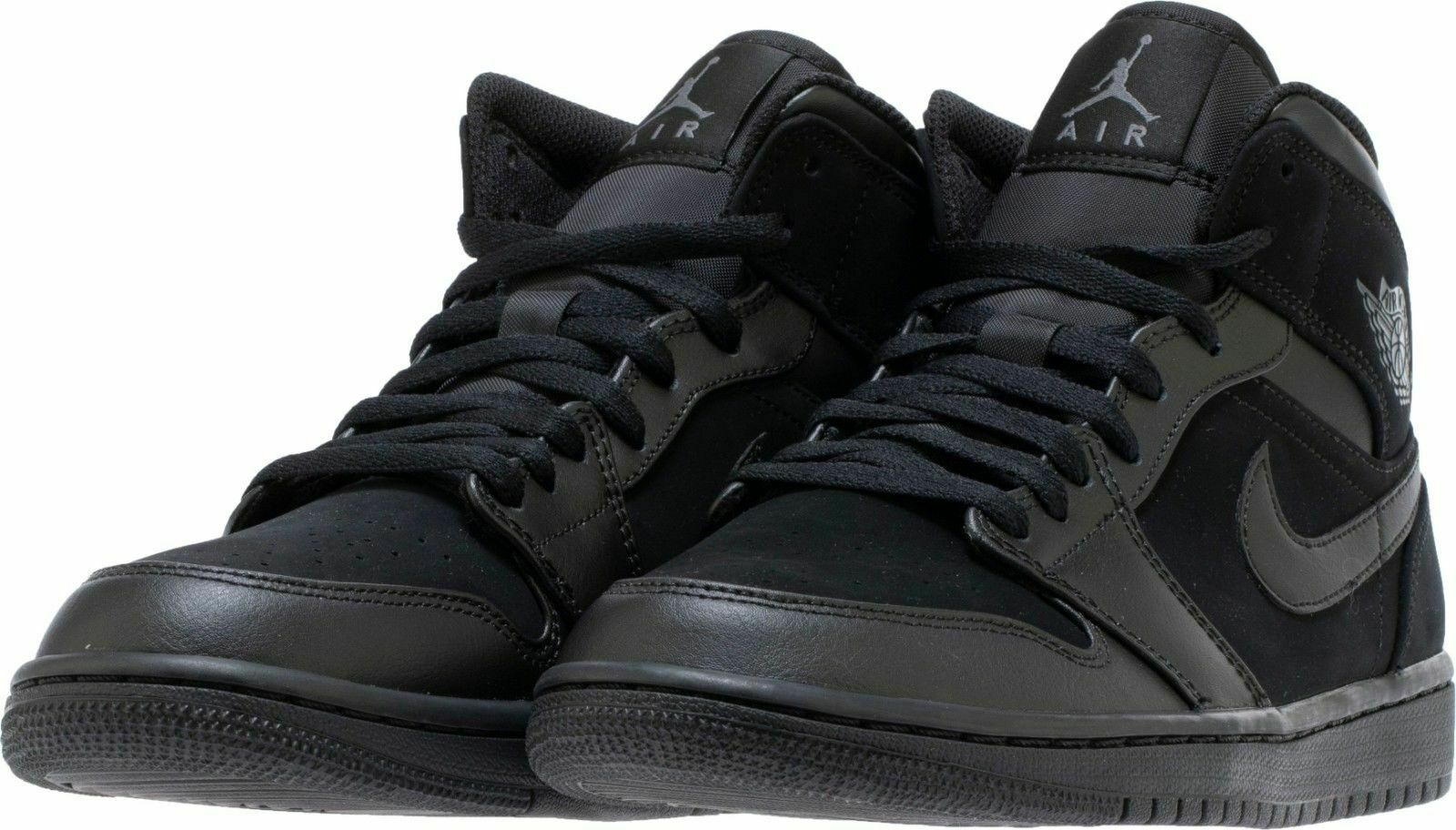 uk availability a343a 5d1ce Nike Air Jordan 1 Mid Basketball Shoes Black Dark Gray 554724-050 Men's NEW