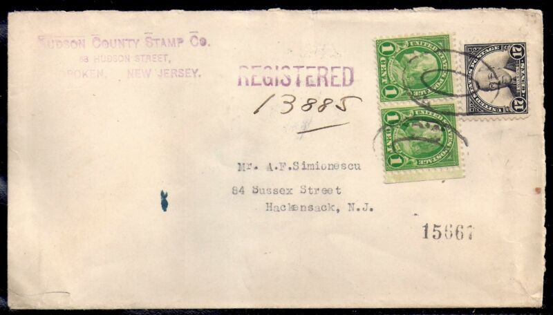 1929 Registered - Hoboken to Hackensack, New Jersey - Scott 623 & 632