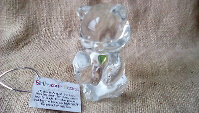 - FENTON ART GLASS AUGUST BIRTHDAY BEAR WITH PERIDOT COLORED HEART