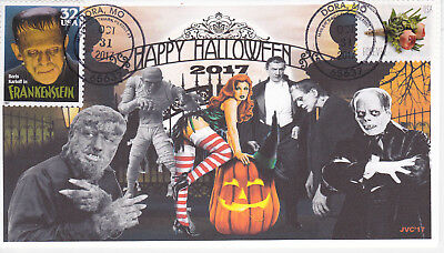 JVC CACHETS - 2017 HALLOWEEN EVENT COVER FDC UNIVERSAL MONSTERS & BEAUTY L.E. 20