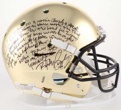 Rudy Ruettiger Signed Notre Dame Chrome Helmet W  Movie Quote Speech Jsa Witness