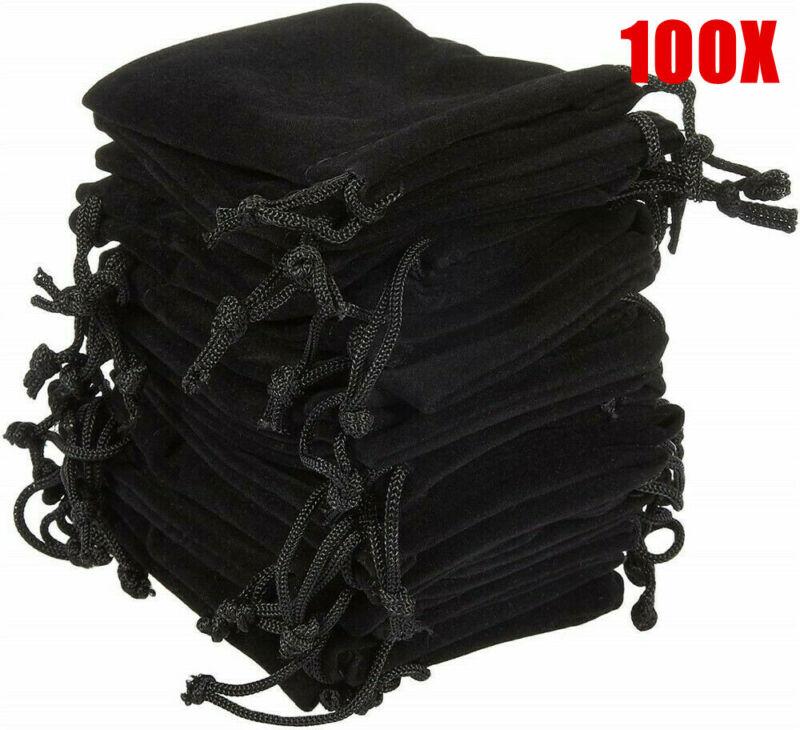 100 x Velvet Cloth Jewelry Gift Bags Drawstring Pouch Weddin