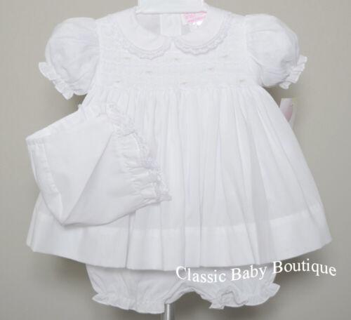 NWT Petit Ami White Smocked Lace 3PC Dress Preemie Reborn Baby Girls Bonnet 00