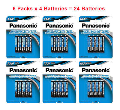 24x Panasonic AAA Batteries Super Heavy Duty Carbon Zinc Retail Fresh:02/2022 , used for sale  Shipping to India