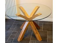 Round Glass Top Dining Table - Solid Oak Legs