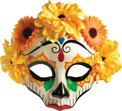Sugar Skull Halloween Costume Male (DAY OF THE DEAD MEXICO FESTIVAL SUGAR SKULL MALE MASK FLOWERS COSTUME)