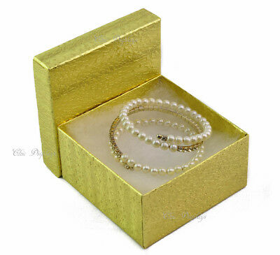 Lot Of 100 Gold Cotton Filled Box Jewelry Box Party Box Large 3 34 X 2h Boxes