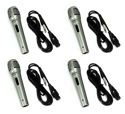 4) PYLE PDMIK1 Professional Moving Coil Dynamic Handheld Microphones Mic + Cable - Pyle Pdmik 4 Dynamic Microphone