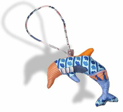 Hermes Blue Orange Yellow Dolphin Petit H Silk Bridle Bag Charm PM, NIB!