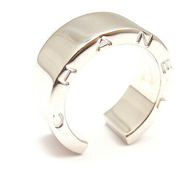 ELEGANT and STYLISH. CHANEL 18K WHITE GOLD SMOOTH OPEN RING, SIZE 5.5