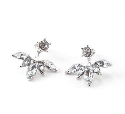 (Crystal Ear Jacket Earrings Silver Drop Dangle Flower Clear Double Sided)