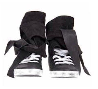 CA Cinzia Araia 41 BlackLeather + Suede Wrap AroundTie Rabbit Sneakers Italy