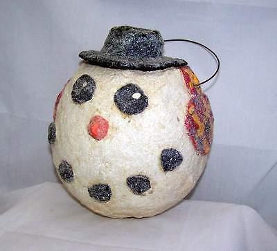 Vtg Repro of Antique Primative Paper Mache Mica Glitter Snowman Bucket Basket