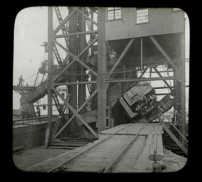 c1913 Lantern Slide Dumping Cars of Coal into Hopper, Conneaut, Ohio, Keystone - Dumping Hopper