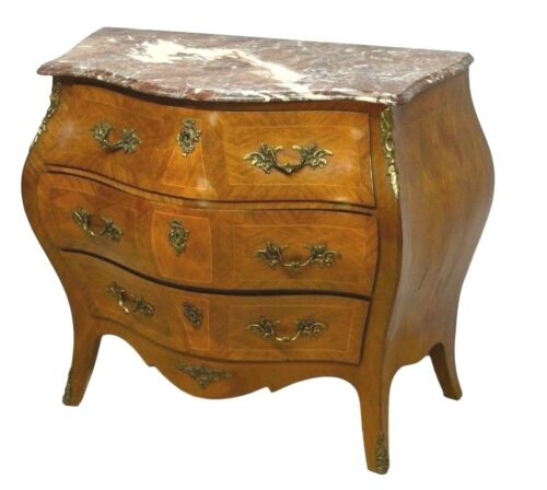 Swedish French Style Bombe Bombay Inlaid Chest Commode w/ Marble Top ca 1920