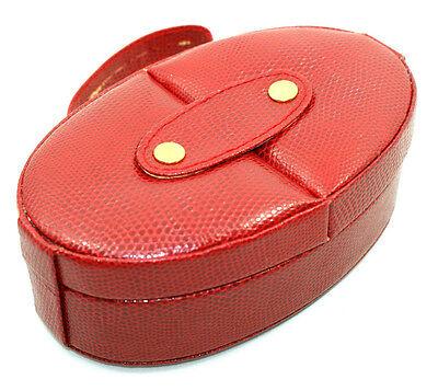 Schmuckdose oval groß mit Fächern Rot Synthetik Neu !