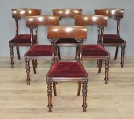 Attractive Set Of Six Antique William IV Carved Mahogany Dining Chairs