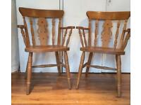 pair of pine farmhouse carver chairs