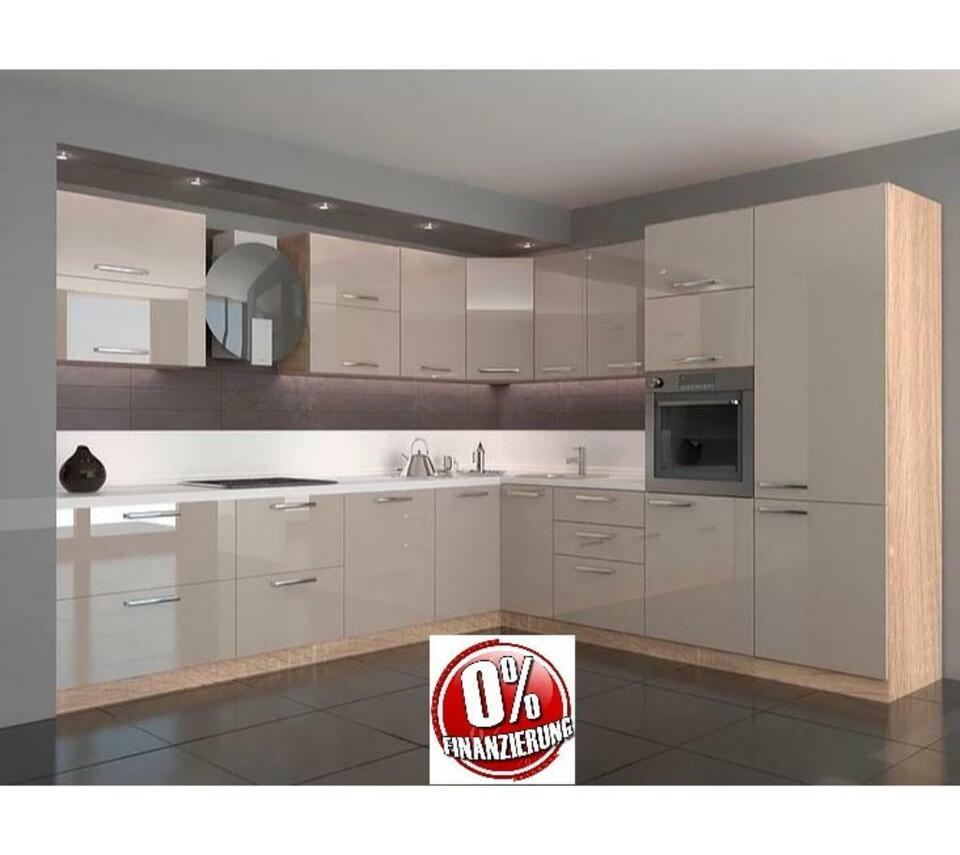 Küche Küchenzeile Einbauküche L-Form 390x330cm HOCHGLANZ Beige