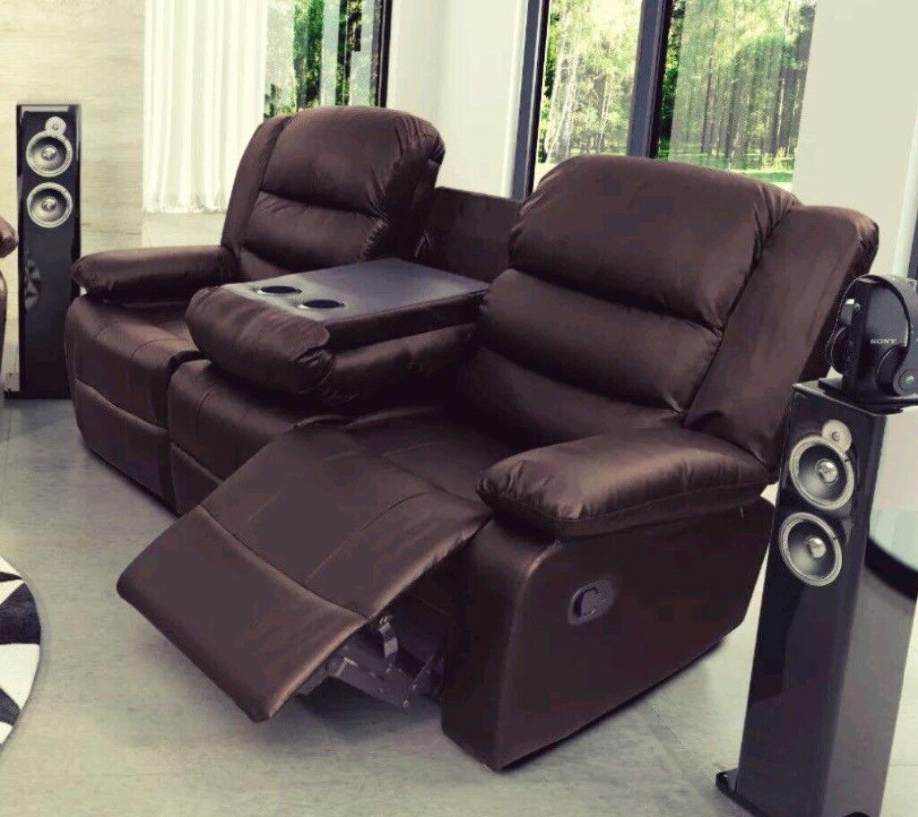 New Roma 3 2 Recliner Leather Sofas With Cup Holders Free Delivery