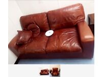 Brown Hide Upholstered Two Seater Settee and matching Armchair