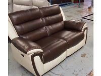 NEW ScS FIESTA BROWN & CREAM LEATHER 2 Seater Electric Recliner Sofa **CAN DELIVER**