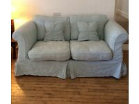 2 seater sofabed, 3 seater sofa + footstool. Duckegg blue plus xtra cream covers. Buyer must collect