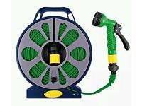 15 meter flat hose garden pipe reel includes spray gun watering outdoor hosepipe New 07985552862