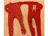Two Christmas Sleepsuits, 9-12 months, Florence & Fred