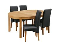 EX DISPLAY Argos Home Clifton Circular Ext Table & 4 Chairs - Black