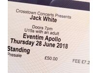1x JACK WHITE tkt for TONIGHT Thursday 28 JUNE - STALLS STANDING HAMMERSMITH EVENTIM APOLLO