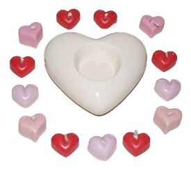 Cream heart candle holder x10 mini heart candles (FREE GIFT WRAP)