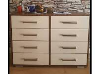 CREAM AND WALNUT CHEST OF DRAWERS £45