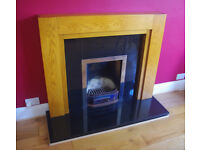 Solid Oak and Polished Granite fireplace / fire surround - contemporary/modern - £400 new!