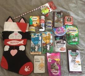 Cat Christmas stocking gift pet present bundle job lot cat food