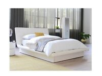 Excellent condition Dwell faux white leather king size bed for sale