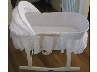 Moses Basket on Rocking Stand - Clair De Lune - From Smoke Free & Pet Free Home