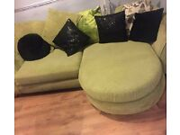 £175 good condition Dfs sofas 2 years old, cuddler, 3 seater sofa & pouffe.