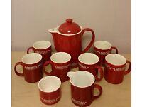 Vintage Red NESCAFE COFFEE SET SIX MUGS COFFEE JUG MILK JUG SUGAR BOWL