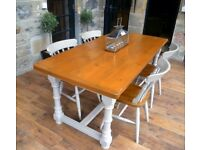 Refectory Table Farmhouse Dining Table & Chairs, Farrow & Ball, Shabby Chic