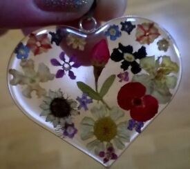 Silver Made With Real Flowers Large Heart Pendant
