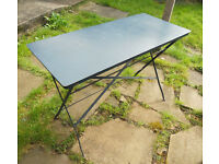 Folding Metal Kitchen, Patio or Garden Table, Desk