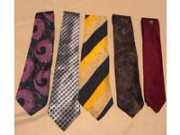 Five Patterned Ties Various Brands & Materials eg. Silk, Polyester...