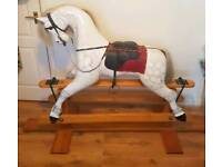 Victorian style dappled solid pine rocking horse