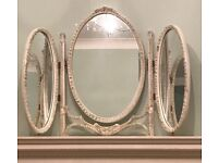 Oval 3-way cream free standing folding vintage antique decorative dressing table mirror