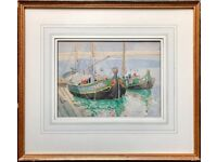 MARY McCROSSAN (b1865) VENETIAN BARGES BOAT PORT SCENE STUDY, SIGNED WATERCOLOUR